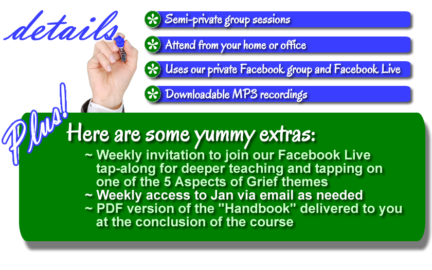 "The Yummy Extras: Weekly invitation to join our Facebook Live tap-along for deeper teaching and tapping on one of the 5 Aspects of Grief themes. (Videos will be available on the private members page for the duration of the Course so that you can tap along with me over and over any time of the day or night!) Access to Jan weekly, as needed, via email. (Q & A, needing encouragement or coaching to get unstuck, volunteer to be my tapping buddy, help me lead a Divine Love Transmission, etc.) MP3 downloads of all recordings. PDF version of the ""Handbook"" delivered at the conclusion of the Course."